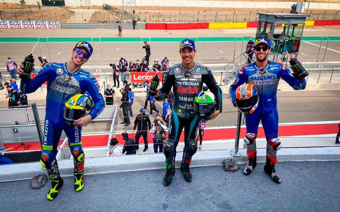 El podio de este domingo: Franco Morbidelli, Alex Rins y Joan Mir.