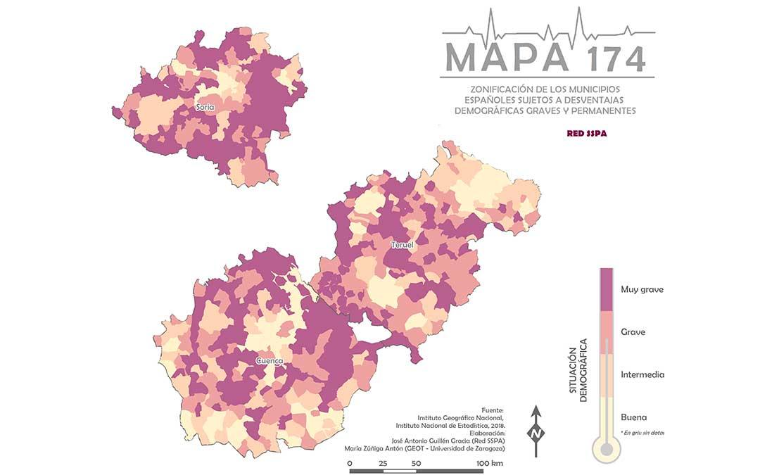 SSPA. Mapa 174 de Soria, Cuenca y Teruel.