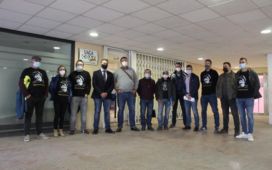 Rueda de prensa en octubre de los Amigos de Iranzo y representantes de UAGA en la sede de la organización agraria en Alcañiz. / B. Severino