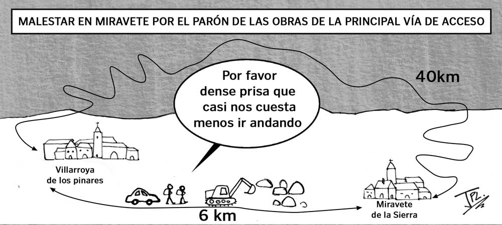 Humor gráfico- miravete - obras carretera