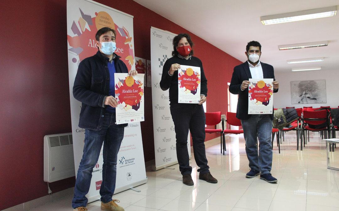 Ignacio Escuín, Jorge Abril y Diego Piñeiro, en la presentación de Alcañiz Lee. / B. Severino