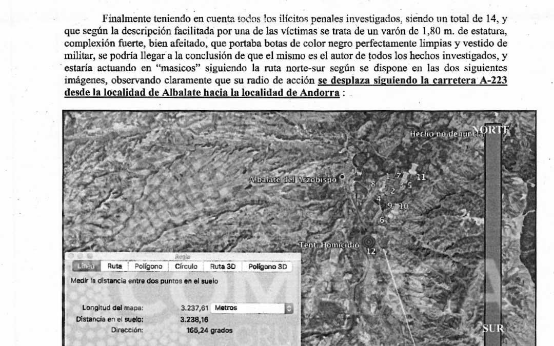 Imagen del informe de la Policía Judicial que concluye que el autor del tiroteo en Albalate es el mismo que sigue entrando a robar a otras casas de campo de la zona / La Comarca