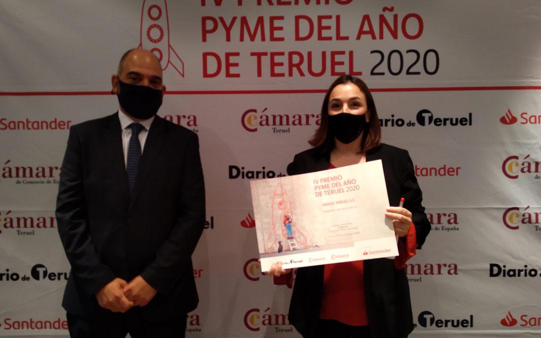 Mención especial a la Mejor Iniciativa en la Lucha contra el covid 19 a Honze Teruel./Cámara de Comercio de Teruel