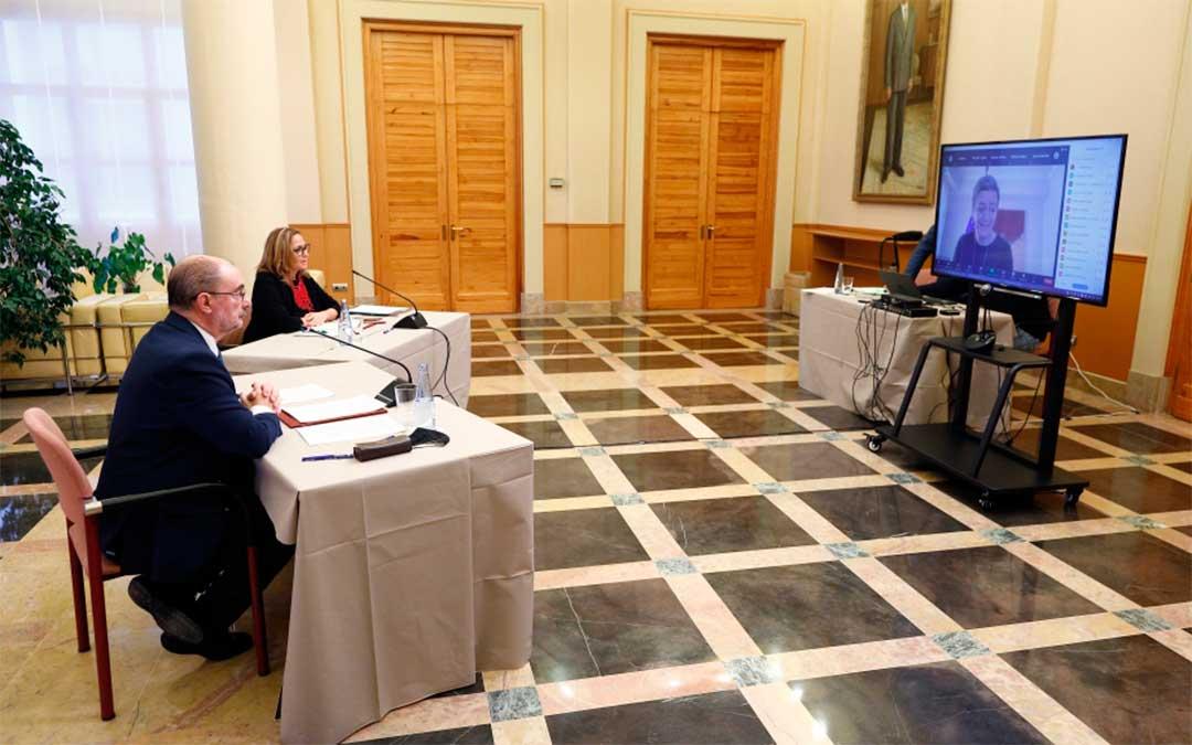 Reunión de trabajo entre la Comisaria de la Competencia UE, Margrethe Vestager y los presidentes de las Comunidades Autónomas de Aragón, Castilla - La Mancha y Castilla y León./ DGA