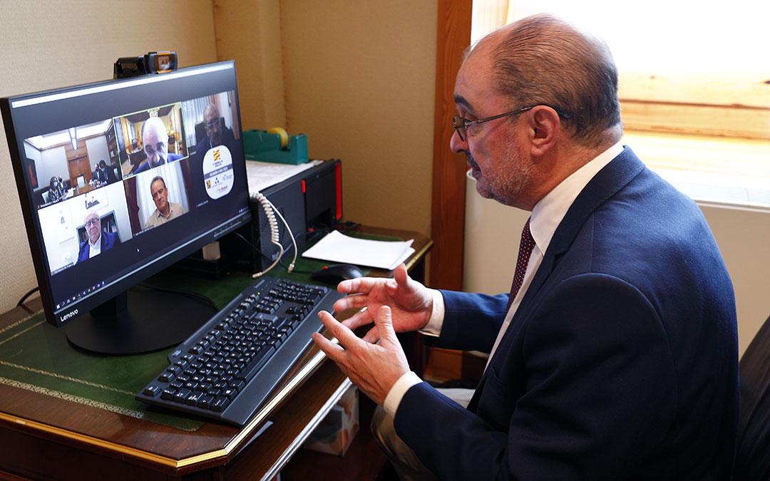 Reunión telemática del presidente Javier Lambán