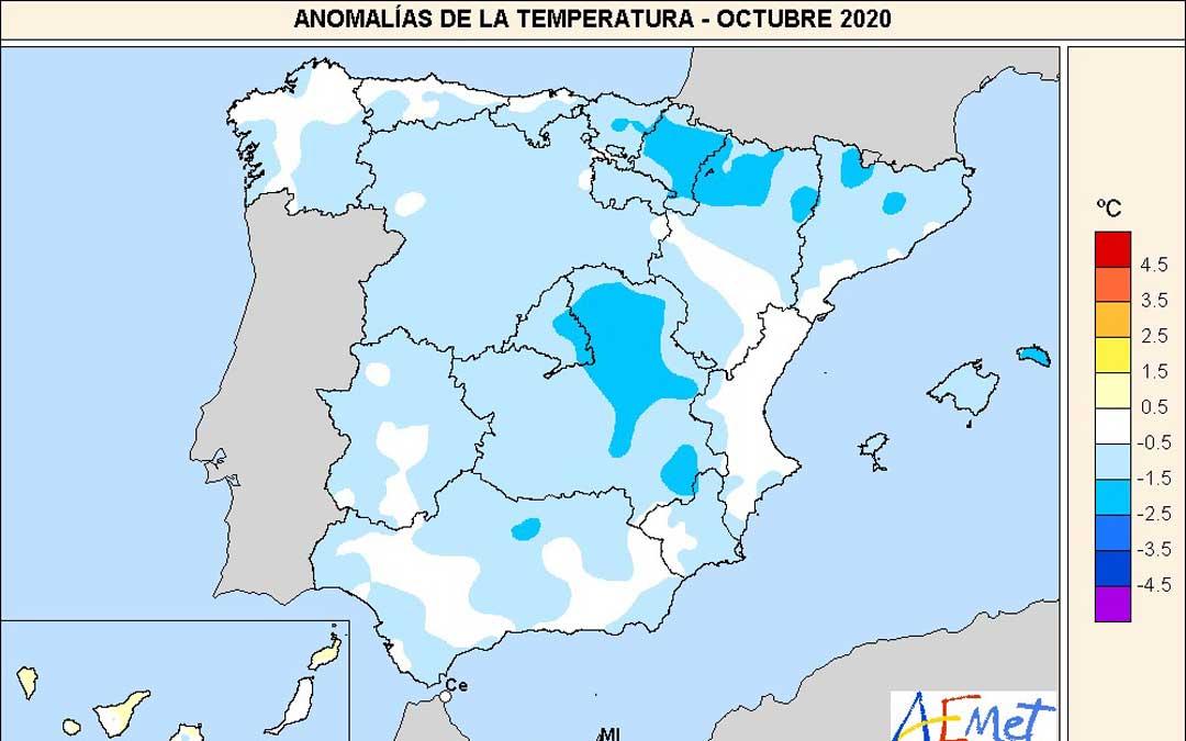 Mapa de anomalía térmica durante el pasado mes de octubre. Fuente: AEMET.