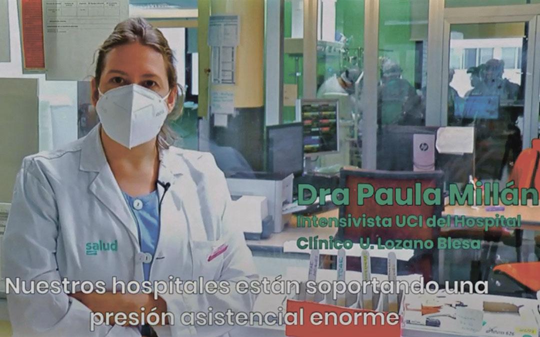 Mensaje de la intensivista del Clínico Paula Millán en los vídeos distribuidos ayer por DGA en redes sociales./ Youtube DGA