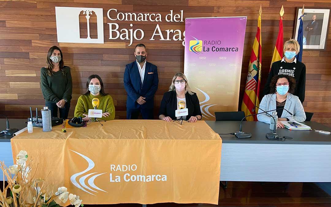Invitados al programa especial emitido desde la sede de la Comarca del Bajo Aragón./ L.C.