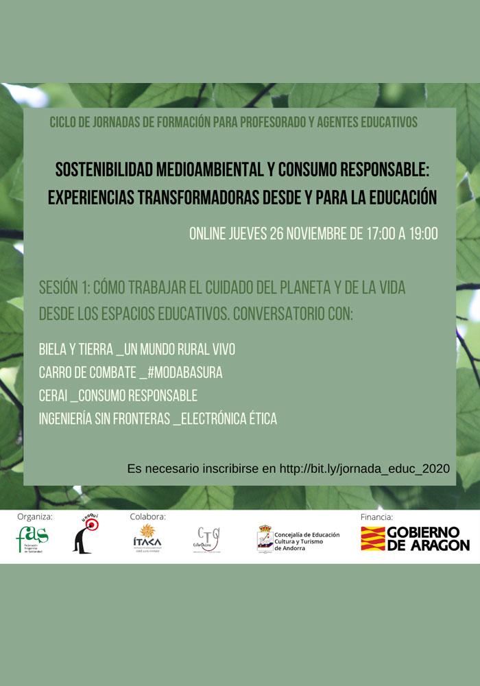 """Inicio de las jornadas sobre """"Sostenibilidad medioambiental y consumo responsable: experiencias transformadoras desde y para la educación"""""""