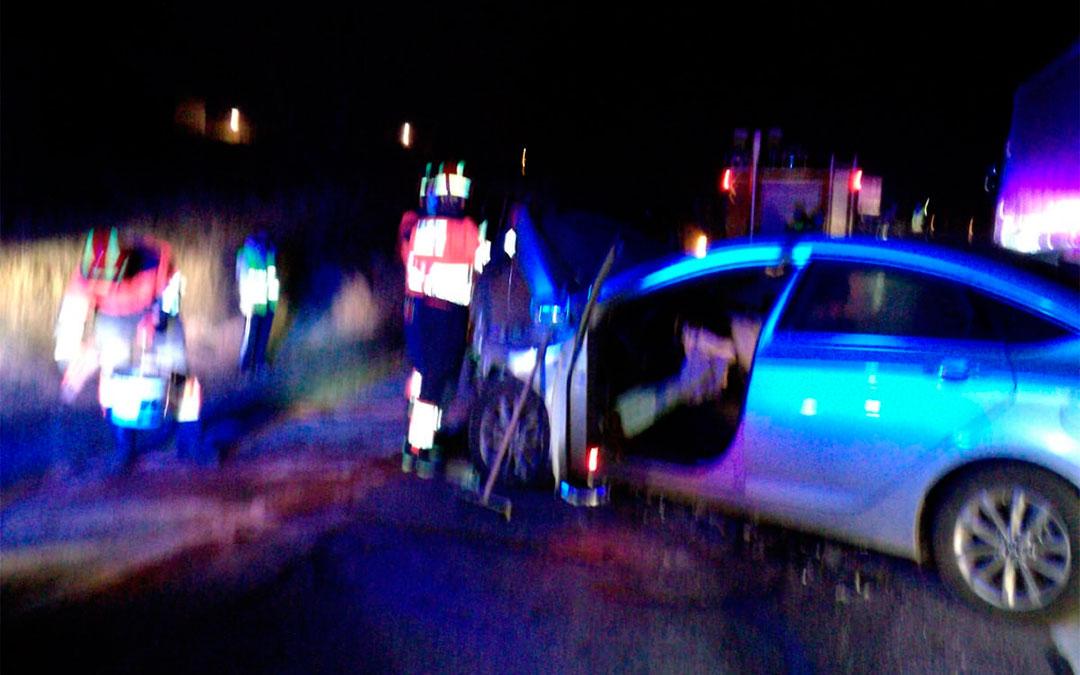 Accidente en el polígono Las Horcas de Alcañiz./ Bomberos DPT