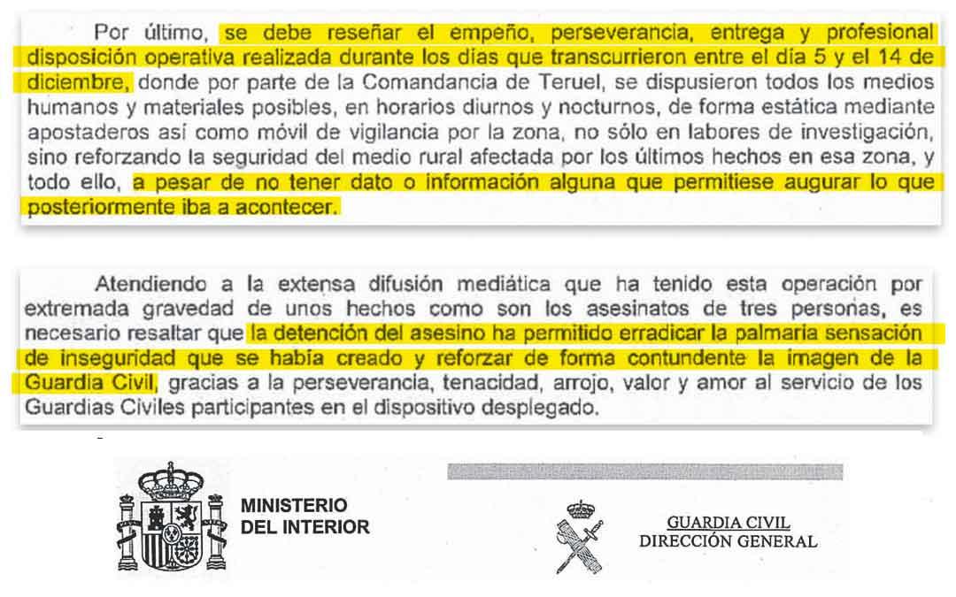 La COMARCA reproduce los párrafos más importantes del documento en el que el jefe de la Guardia Civil en Aragón, Carlos Crespo, propone y justifica la concesión de las medallas . El expediente judicial consta de más de mil páginas