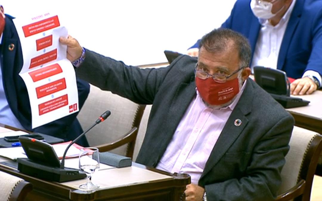 Intervención del diputado socialista Herminio Sancho durante la Comisión de Agricultura./PSOE