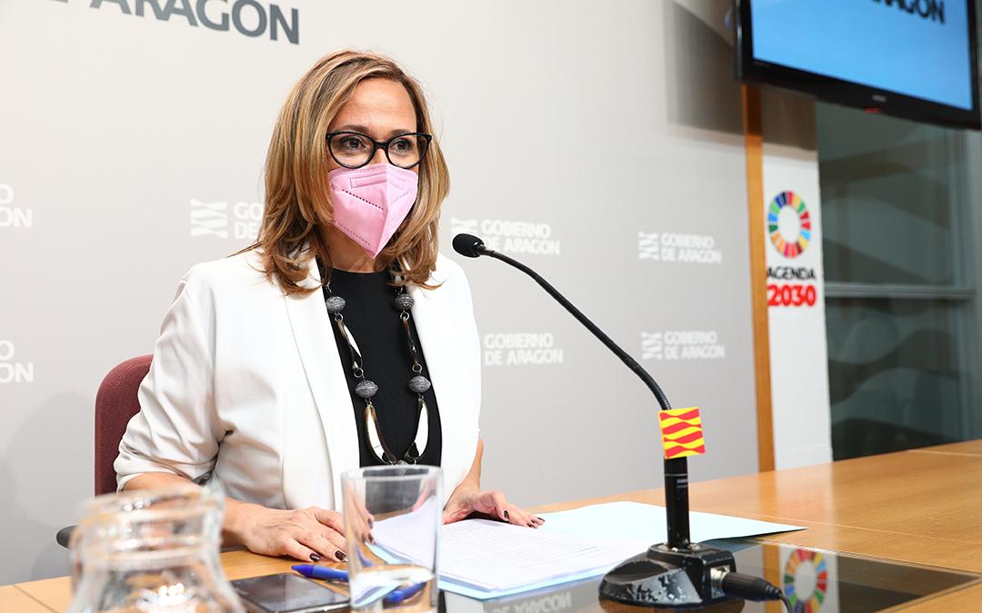Mayte Pérez este miércoles en la rueda de prensa posterior al Consejo de Gobierno. / ARAGÓN HOY
