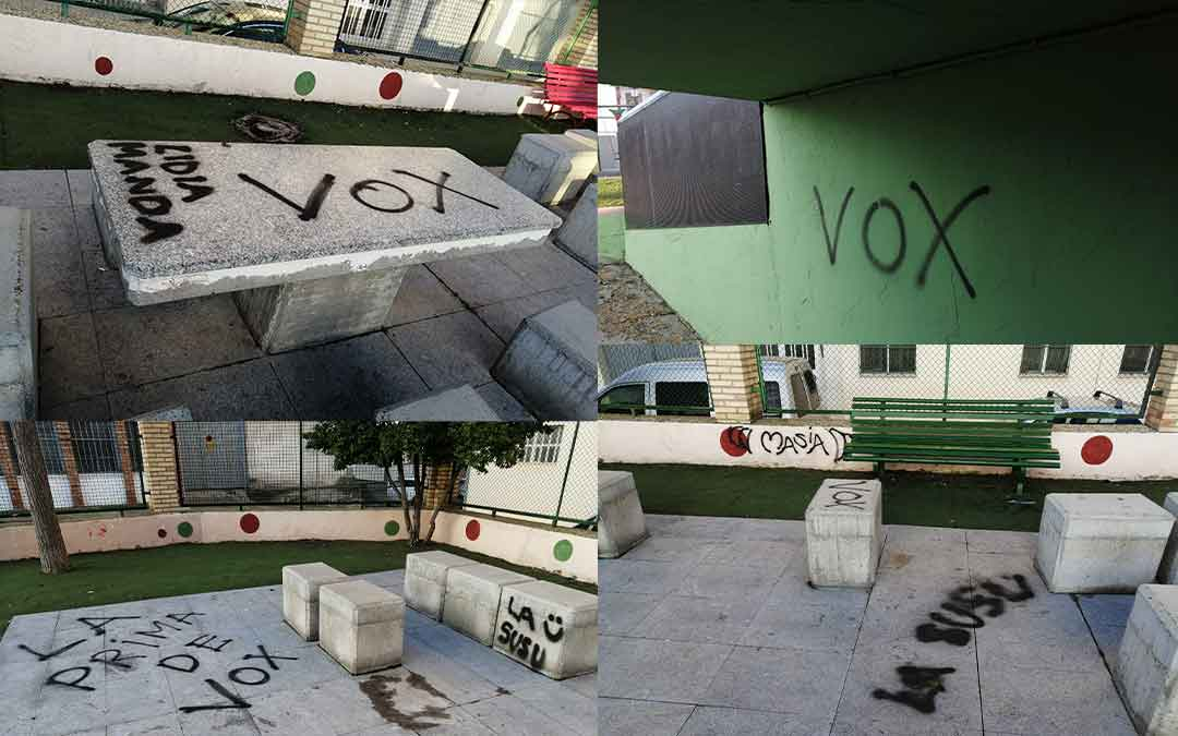 Algunas imágenes de las pintadas en la plaza 'La Glorieta' de Caspe. Imagen: Ayto Caspe