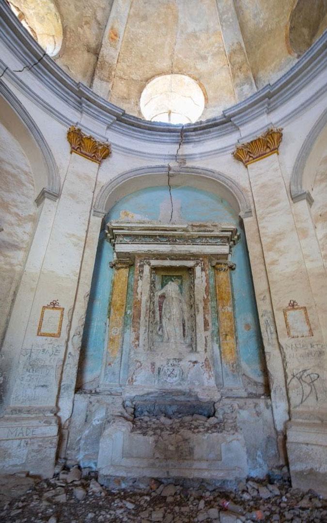 Detalle del interior de la ermita de San Gregorio Magno de Aguaviva. / Hispania Nostra