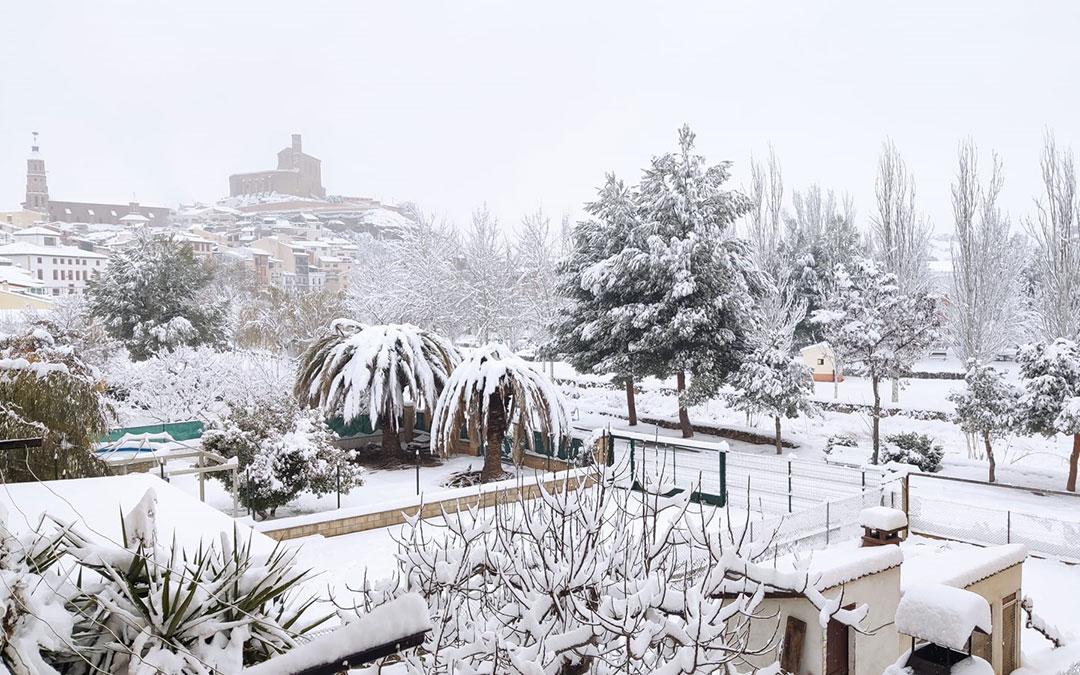 Palmeras en la nieve en Albalate del Arzobispo en esta bonita estampa con el Castillo y la torre de la iglesia. / Cloti Gómez