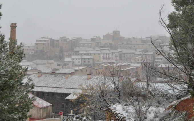 La borrasca Filomena deja las primeras nevadas en el Bajo Aragón Histórico