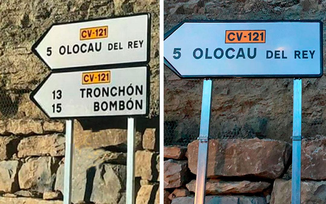 Señal en la que aparecía el nombre 'Bombón' para referirse a la localidad del Maestrazgo. Horas más tarde fue retirada./ Redes sociales