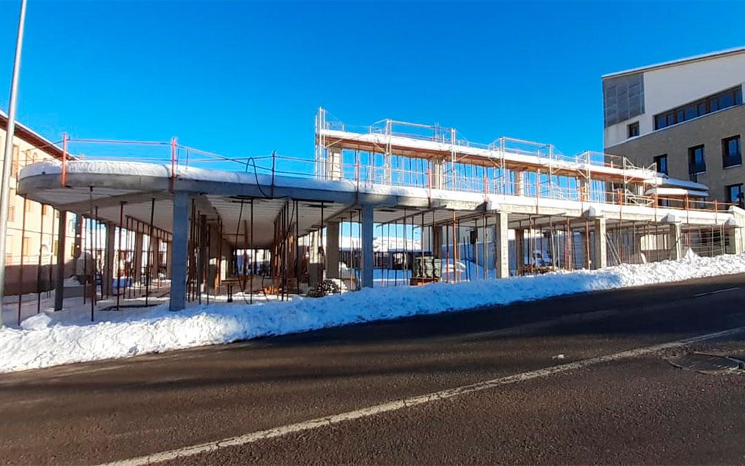 El pabellón de Cantavieja se encuentra en una primera fase de reconstrucción./ Ayto. de Cantavieja