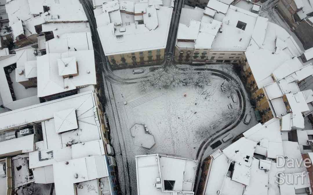 Imagen de calles de Caspe tras la borrasca Filomena. Imagen: Ayuntamiento Caspe.