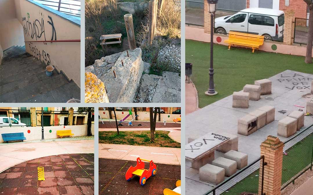 Imágenes de algunos actos vandálicos en varios puntos de la Ciudad del Compromiso. Imagen: Ayto Caspe