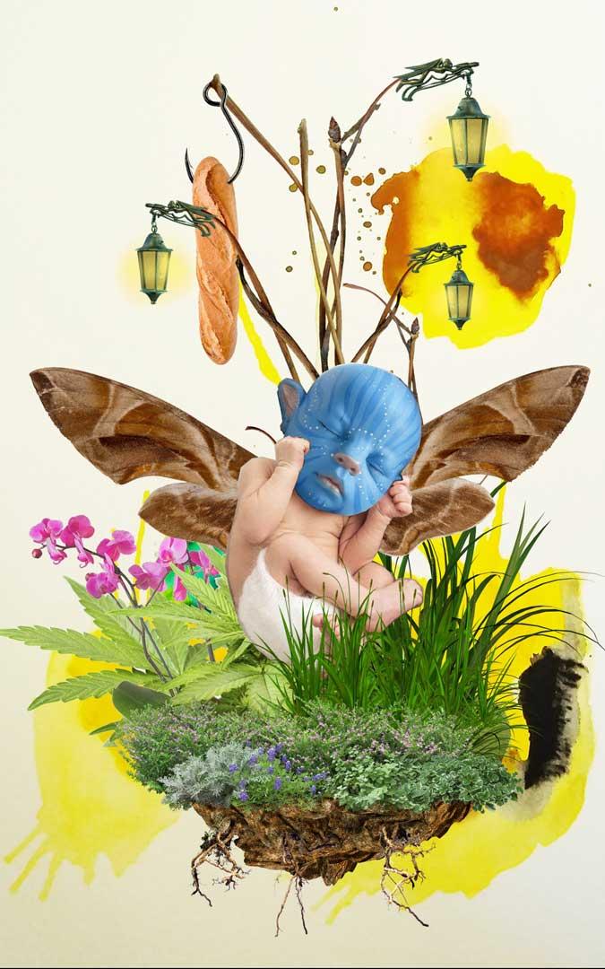 'El Jardín Luminiscente', collage digital expuesto en Vielha / S.M.