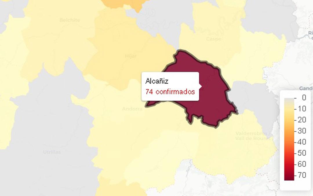 Imagen de la incidencia del covid por zonas básicas de salud según los datos provisionales del Portal de Transparencia de Aragón / Data Covid
