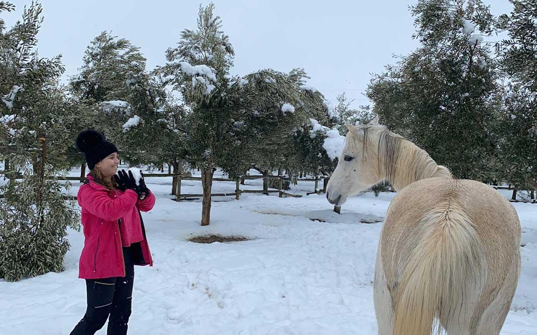 Nieve en Escatrón./ Marta Artal