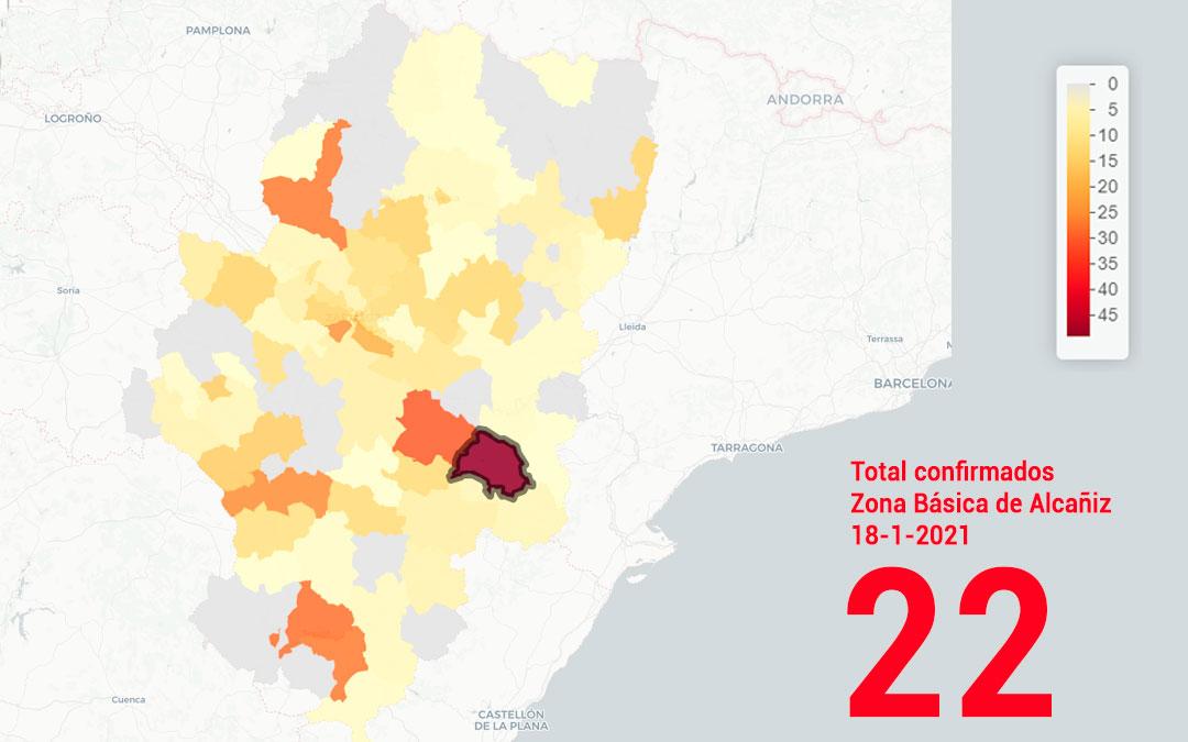 La zona básica de salud de Alcañiz registró este lunes 18 de enero 22 nuevos contagios./ Datacovid