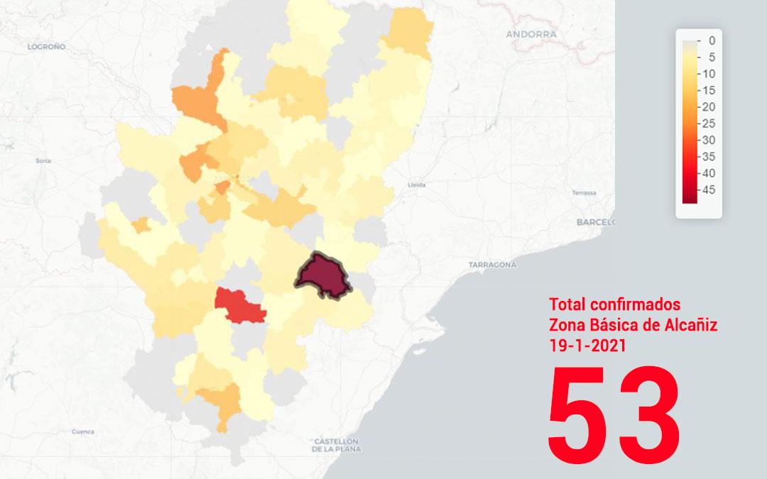 La zona básica de salud de Alcañiz registró este martes 19 de enero 53 nuevos contagios./ Datacovid