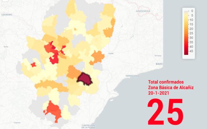 La zona básica de Alcañiz lidera por quinto día consecutivo los contagios en Aragón con 25 nuevos positivos
