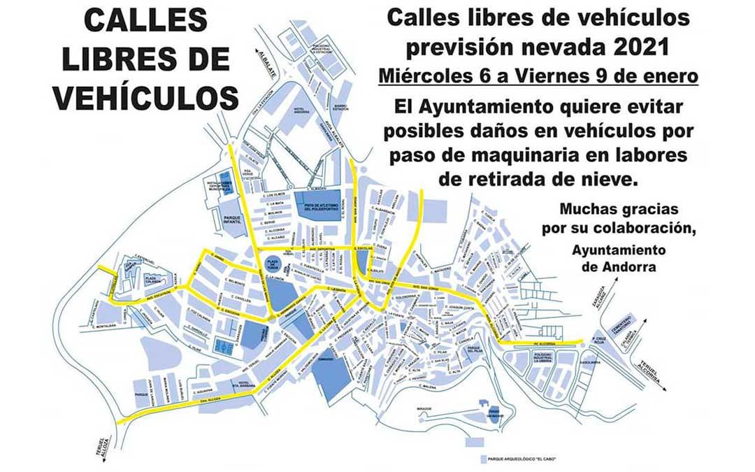 El Ayuntamiento pide que se retiren los vehículos de las principales calles de Andorra./ L.C.