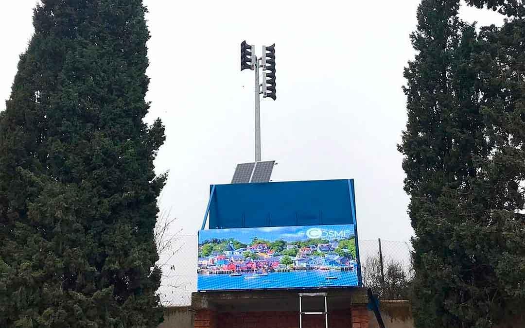 Nuevo marcador del campo Los Rosales de Caspe./ L.C.