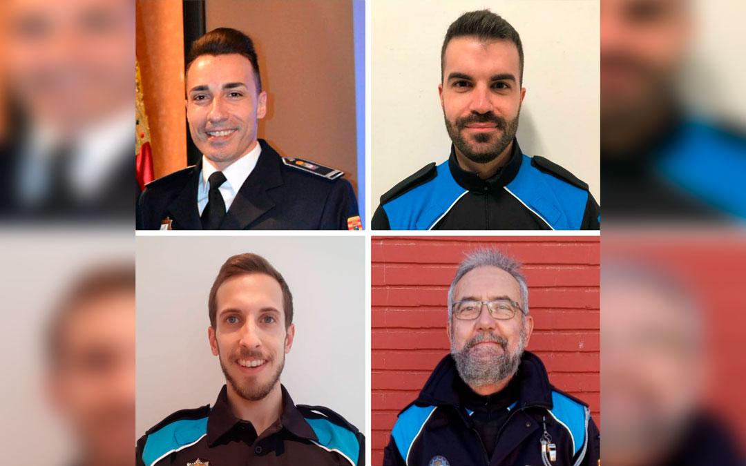 Los cuatro policías que han recibido los reconocimientos de Unigepol. / LA COMARCA