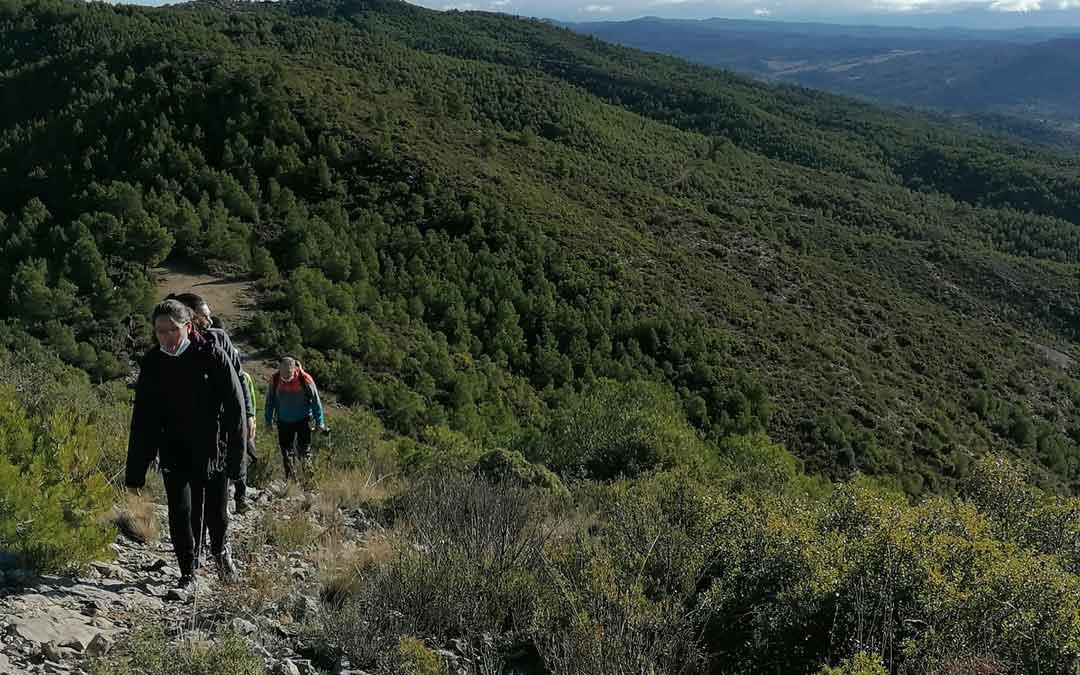 Participantes en la salida senderista por La Tarayola en La Ginebrosa. Foto: Comarca Bajo Aragón