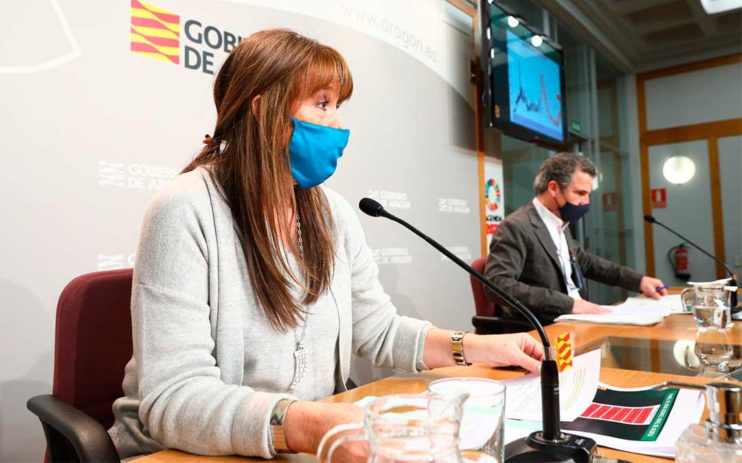 La Consejera de Sanidad, Sira Repollés, en la rueda de prensa celebrada este viernes./ Gobierno de Aragón