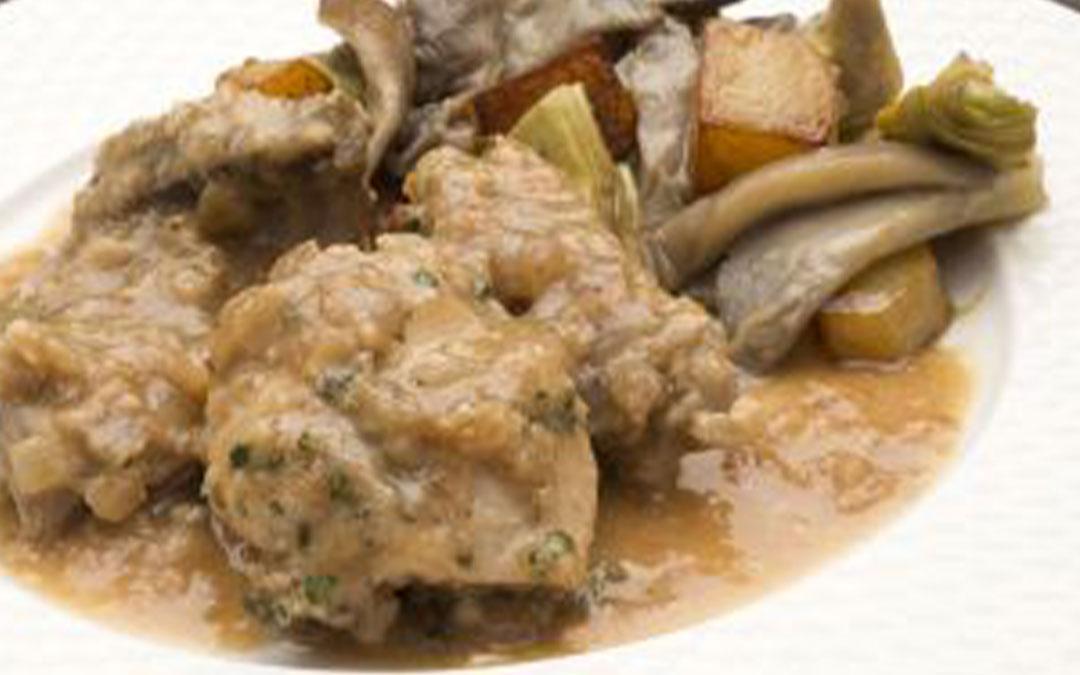 Como hacer Conejo en salsa de almendras con setas patatas y alcachofas