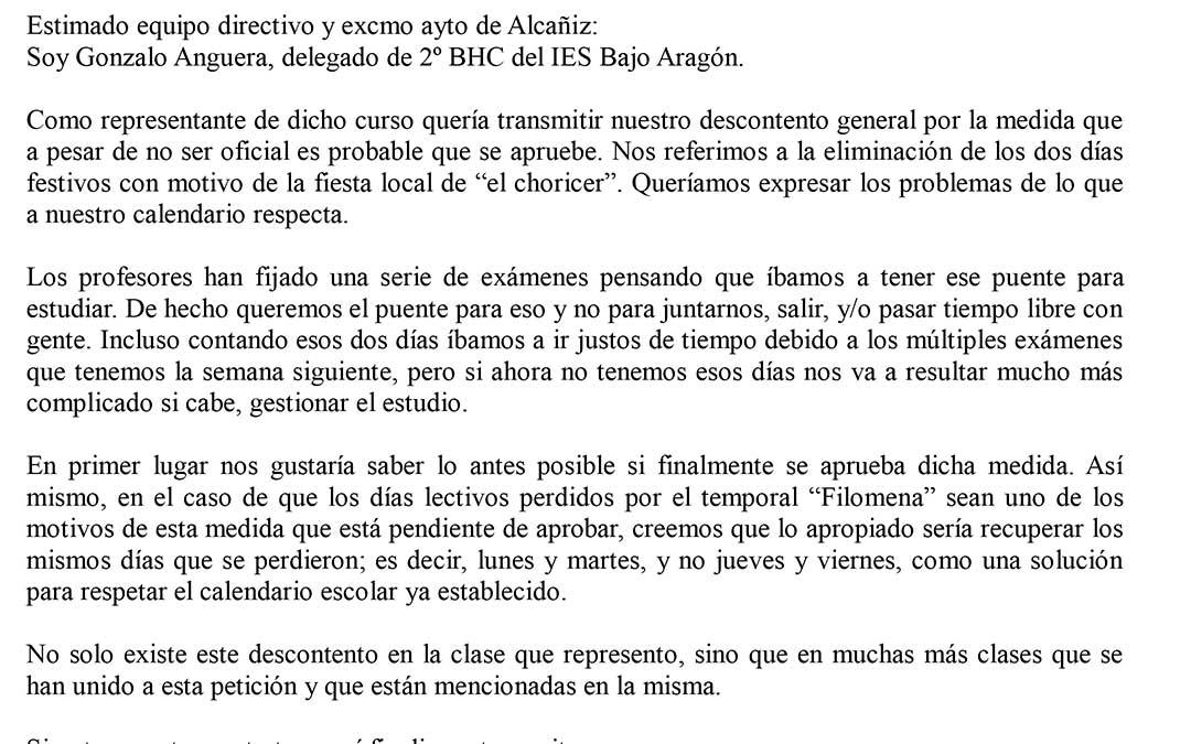Carta de los alumnos de 2º de Bachillerato del IES Bajo Aragón./ L.C.