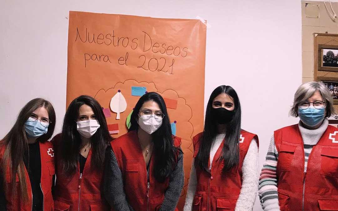 Volunarias de la Asamblea Local de Cruz Roja Española de Caspe. Foto: Facebook Cruz Roja Caspe