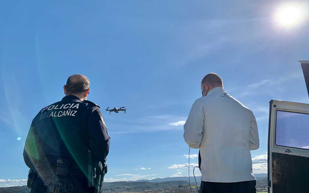 Un dron ha sobrevolado Alcañiz vigilando los masicos / Ayto. Alcañiz