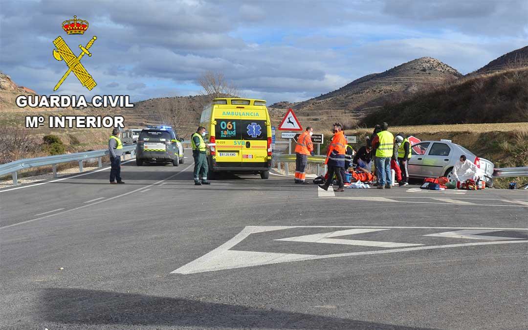 Accidente en la carretera del término municipal de Ejulve el pasado 31 de enero de 2020./ Guardia Civil de Teruel