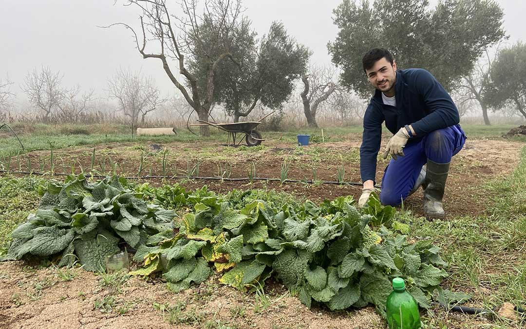 El albalatino Víctor Montañés posa en su huerta, donde trabaja diferentes productos de forma ecológica./ Alicia Martín