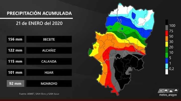 Mapa oficial en el que se reflejan las cantidades de precipitación solo en la jornada del 21 de enero. En localidades como Beceite se acumularon 200 mm en todo el episodio.