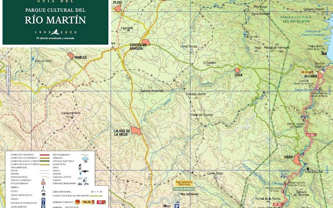 Uno de los mapas que contiene la nueva guía del Parque y que es indispensable para disfrutar en plenitud de sus rutas. / Parque Cultural Río Martín