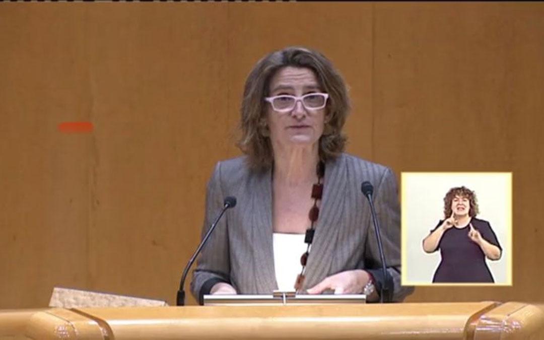 Ribera este martes en el Senado contestando a la interpelación del senador de Teruel Existe. / L. C.
