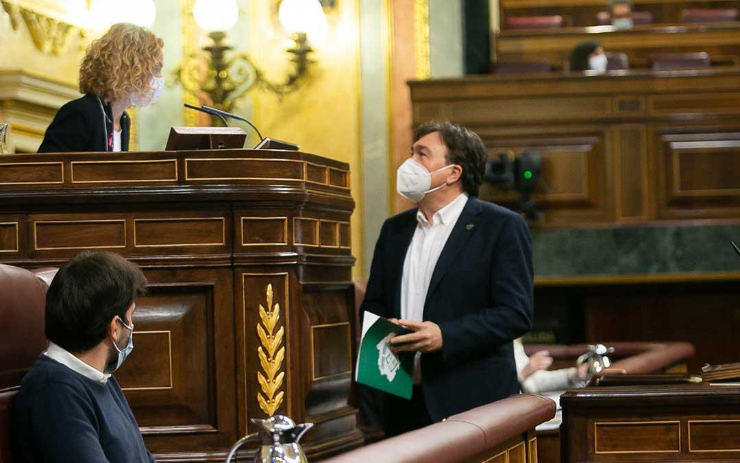 El diputado de Teruel Existe en el estrado de oradores del Congreso. Foto: Teruel Existe