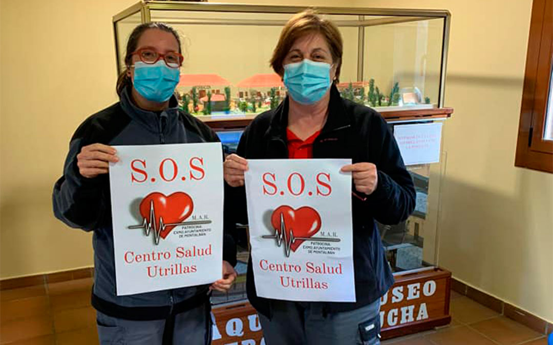 """Campaña de carteles y chapas por el """"100% del personal sanitario en el centro médico de Utrillas""""./ MAR"""