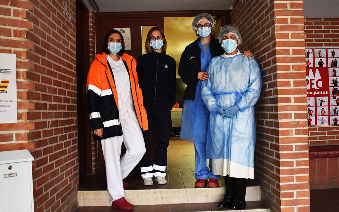 Andrea Romero, Marta Blasco, Patricia Relancio y Margarita Roca, parte del equipo de Enfermería del Centro de Salud de Caspe. L.Q.V.