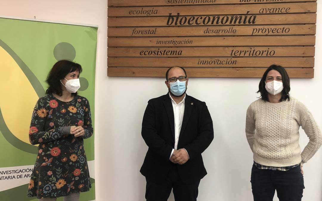 De izquierda a derecha, Luna Zabalza, Alberto Izquierdo y Marta Barba, en las instalaciones del CIBR de Teruel./DPT