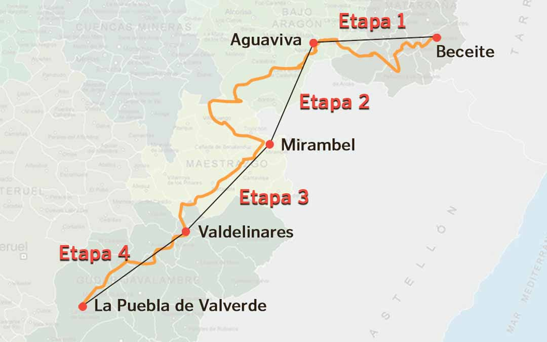 Mapa aproximado de la ruta que los participantes llevarán a cabo a través del GR-8.